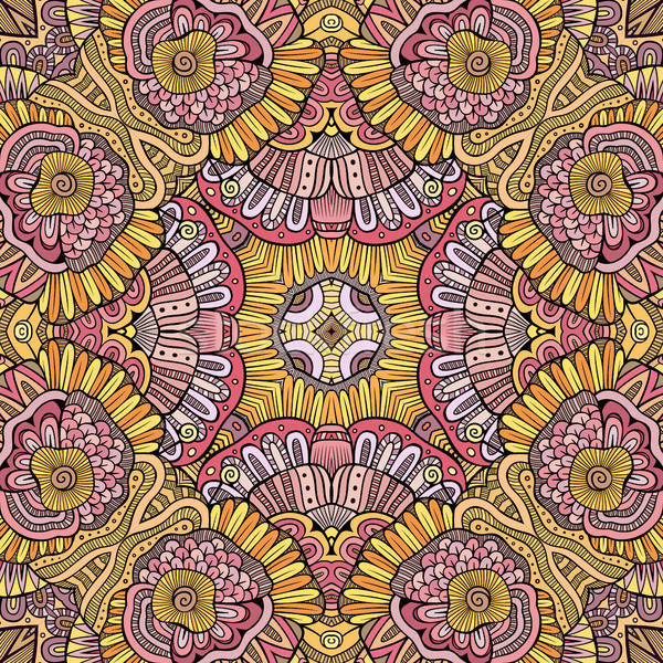 Abstrakten Vektor dekorativ ethnischen Hand gezeichnet Stock foto © balabolka