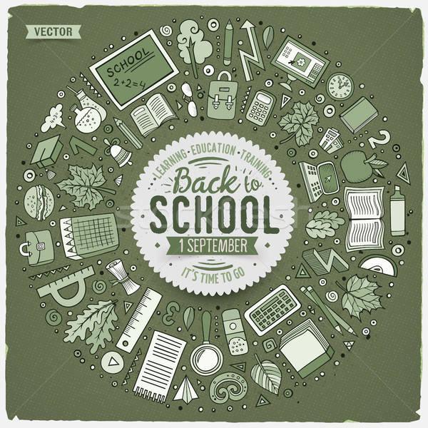 Stock fotó: Szett · iskola · rajz · firka · tárgyak · szimbólumok