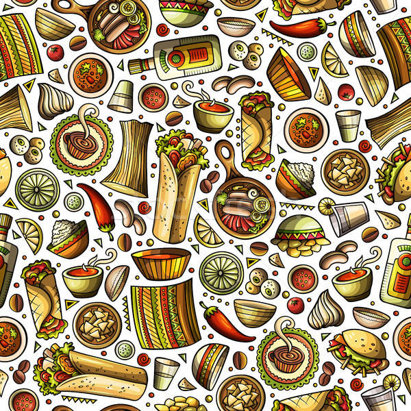 Cartoon cute hand drawn Mexican food seamless pattern. Stock photo © balabolka