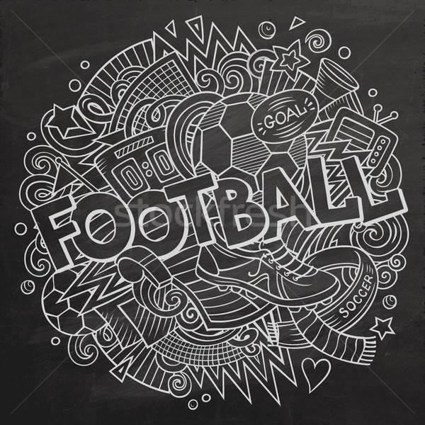 Foto stock: Cartoon · cute · garabatos · dibujado · a · mano · fútbol · ilustración