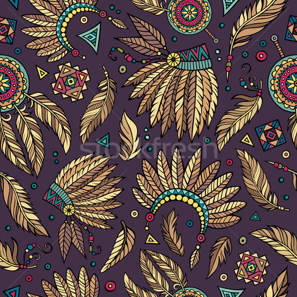 Tribal native ethnic seamless pattern   Stock photo © balabolka