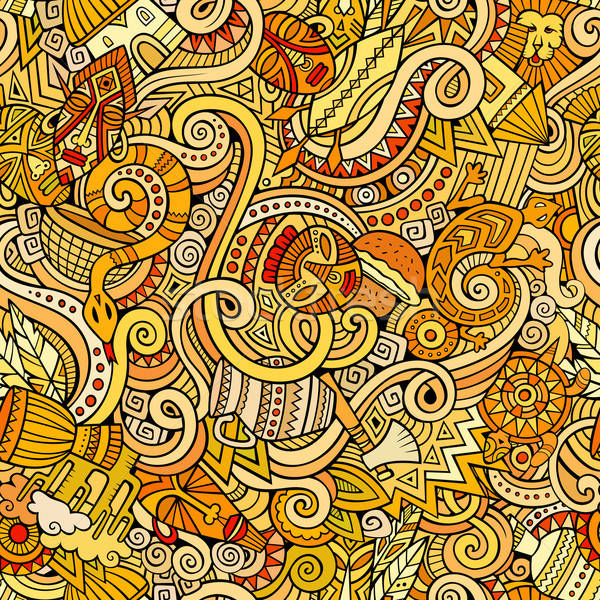 Cartoon hand-drawn doodles on the subject of Africa style theme  Stock photo © balabolka