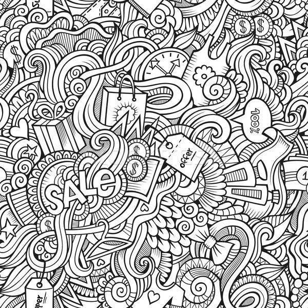 hand drawn sale shopping seamless pattern Stock photo © balabolka