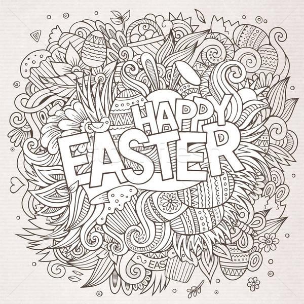 Rajz firkák kellemes húsvétot vonal művészet részletes Stock fotó © balabolka