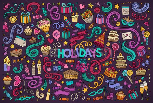 Stock photo: Colorful set of holidays object