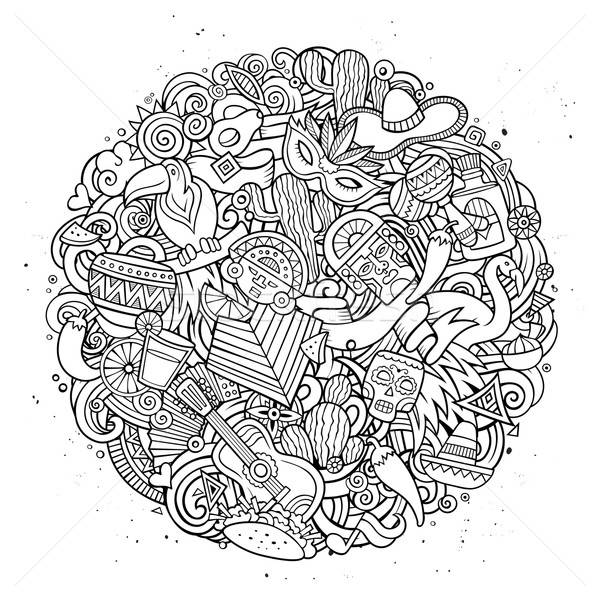 Cartoon vector hand drawn Doodle Latin American illustration Stock photo © balabolka