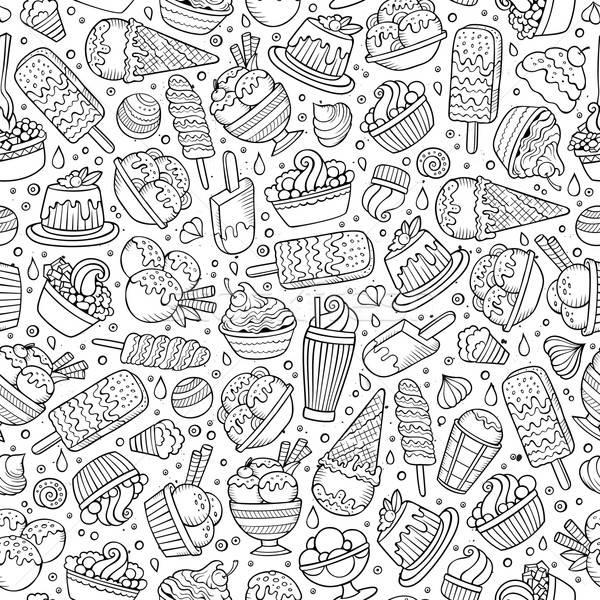 Photo stock: Cartoon · crème · glacée · dessinés · à · la · main · symboles