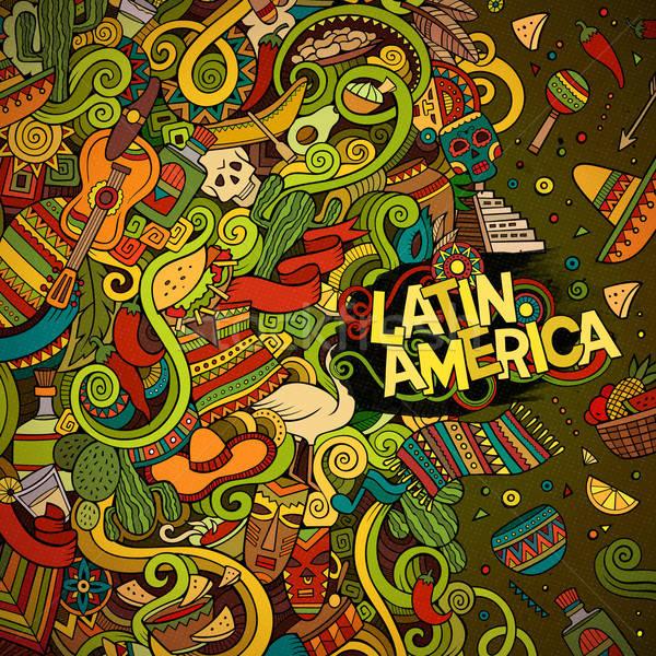 Cartoon hand-drawn doodles Latin American frame Stock photo © balabolka