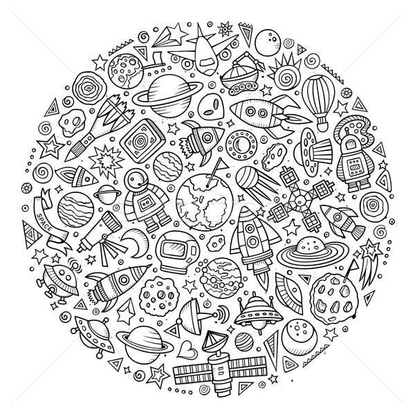 Set of Spacel cartoon doodle objects Stock photo © balabolka