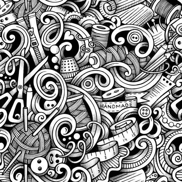Cartoon hand-drawn doodles handmade, sewing seamless pattern Stock photo © balabolka