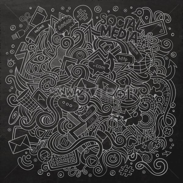 Cartoon cute doodles hand drawn social media illustration. Stock photo © balabolka