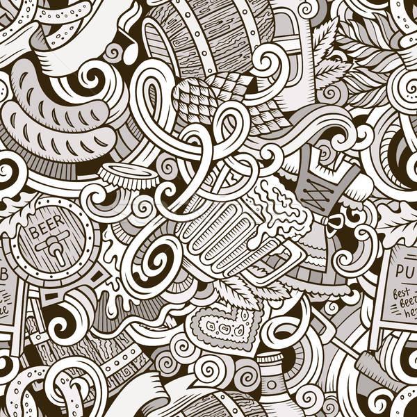 Stock fotó: Rajz · aranyos · firkák · kézzel · rajzolt · végtelen · minta · vonal