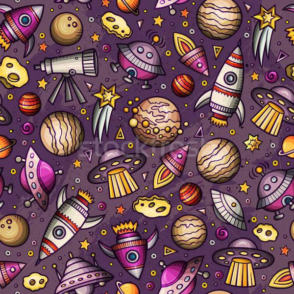 Cartoon hand-drawn space, planets seamless pattern Stock photo © balabolka