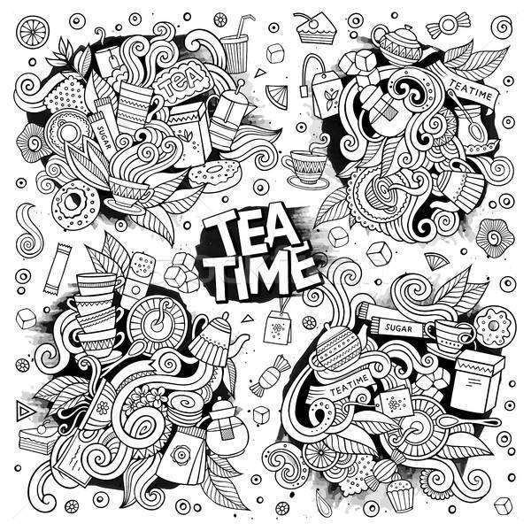 Tea time doodles hand drawn sketchy vector doodle designs Stock photo © balabolka
