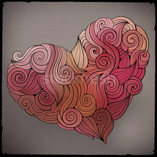 Hand drawn curled vector heart Stock photo © balabolka