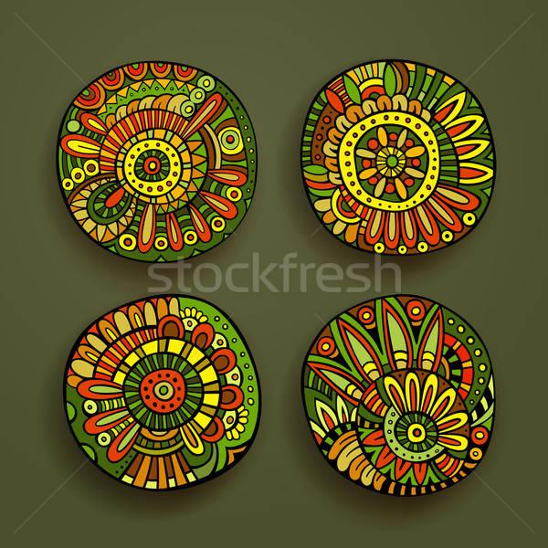 Foto stock: Floral · diseno · elementos · establecer · decorativo · dibujado · a · mano