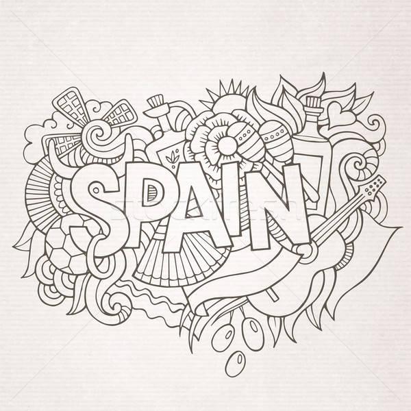 İspanya ülke el karalamalar elemanları semboller Stok fotoğraf © balabolka