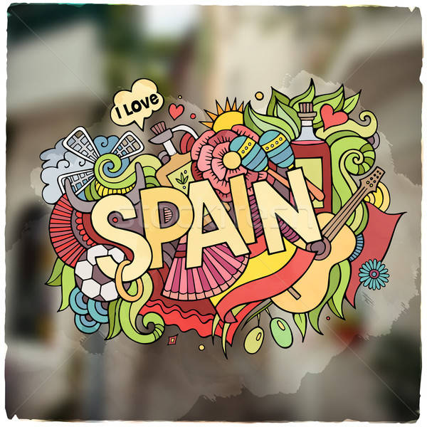 İspanya el karalamalar elemanları amblem semboller Stok fotoğraf © balabolka