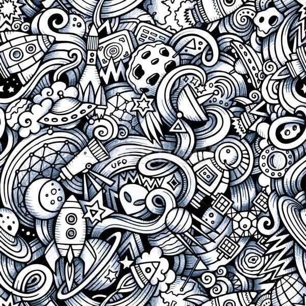 Cartoon bazgroły przestrzeni wzór stylu Zdjęcia stock © balabolka