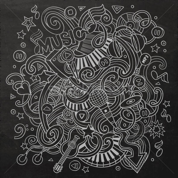 Hand-drawn chalkboard doodles Musical illustration Stock photo © balabolka