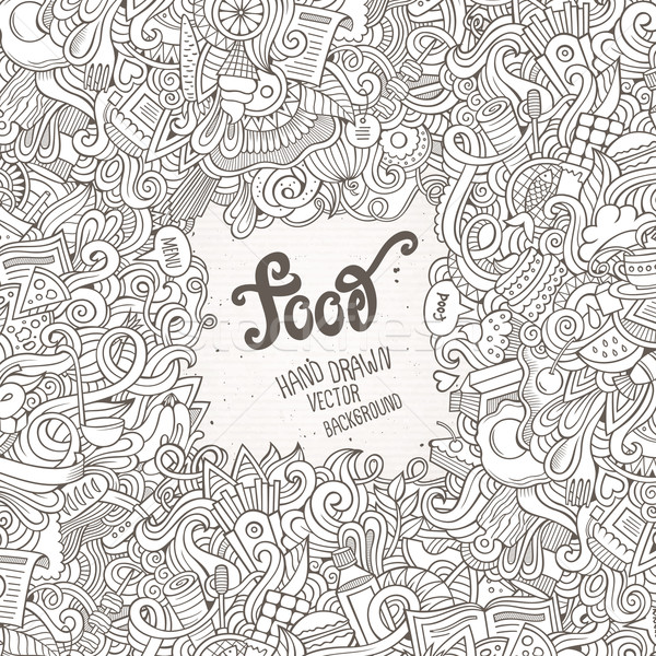 Abstract vector decorative doodles food background. Stock photo © balabolka