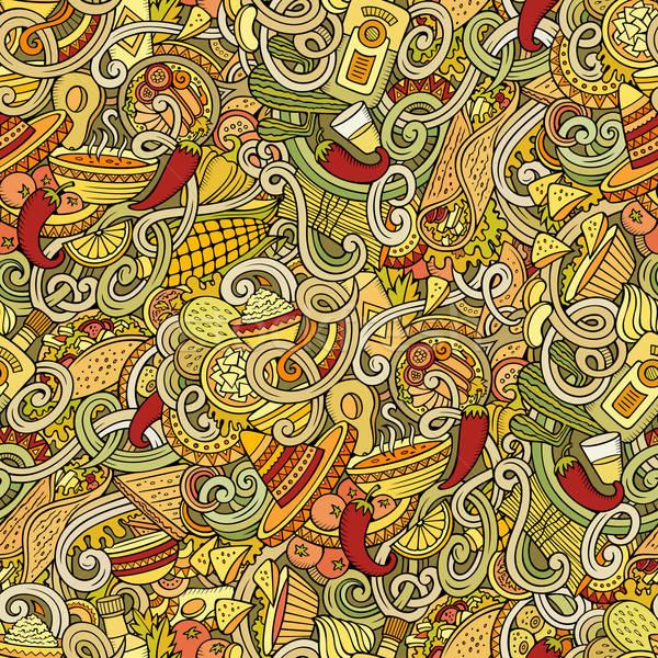 Stock fotó: Rajz · mexikói · étel · firkák · végtelen · minta · részletes · tárgyak