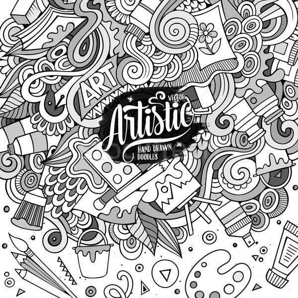 Desenho animado bonitinho arte quadro Foto stock © balabolka
