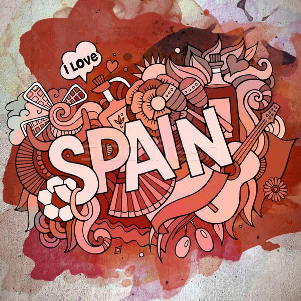 Karikatür vektör karalama İspanya örnek Stok fotoğraf © balabolka