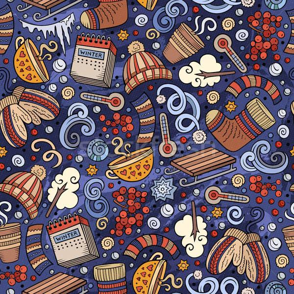 漫畫 可愛 手工繪製 冬季 商業照片 © balabolka