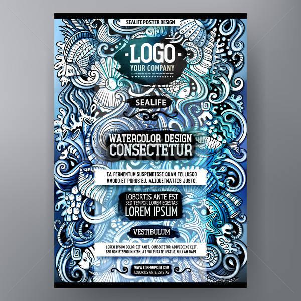 Cartoon acquerello scarabocchi poster modello di progettazione Foto d'archivio © balabolka