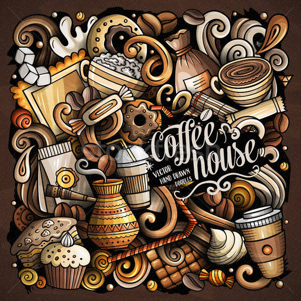 Cartoon vector doodles Coffee House illustration Stock photo © balabolka