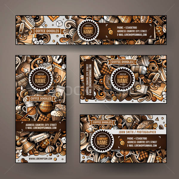 Stock photo: Corporate Identity vector templates set design with doodles hand drawn Coffee Shop theme