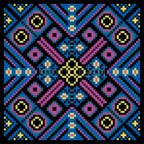 Mozaiki dekoracyjny etnicznych kółko dekoracyjny kwiatowy Zdjęcia stock © balabolka