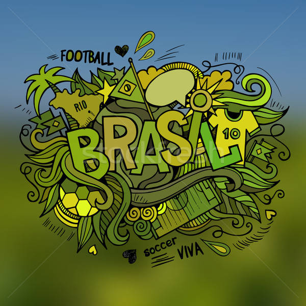 Brasil Summer Vector hand lettering and doodles elements Stock photo © balabolka