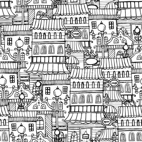 Cartoon fairy tale drawing vintage town Stock photo © balabolka