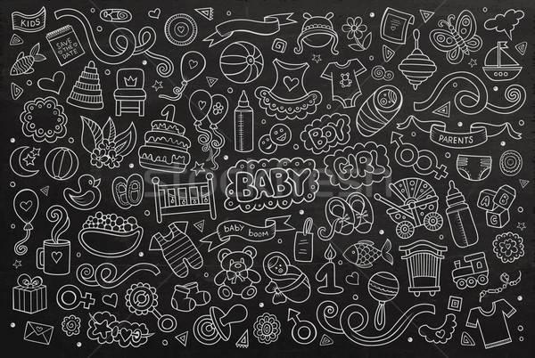 Chalkboard vector hand drawn Doodle cartoon set of objects Stock photo © balabolka