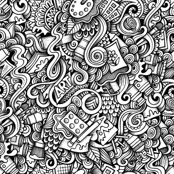Cartoon hand-drawn doodles on the subject of Art style theme Stock photo © balabolka