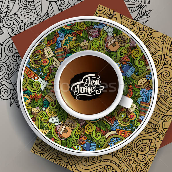 Vector illustration with a Cup and hand drawn Tea doodles Stock photo © balabolka