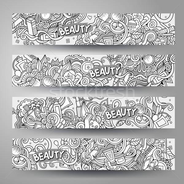 Cartoon vector hand-drawn Doodle cosmetic banners design  Stock photo © balabolka