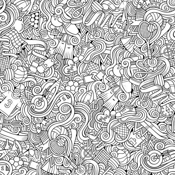 Cartoon hand-drawn doodles on the subject of sports style theme  Stock photo © balabolka