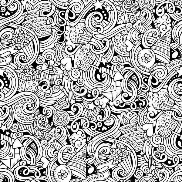 Cartoon hand-drawn doodles birthday theme seamless pattern Stock photo © balabolka