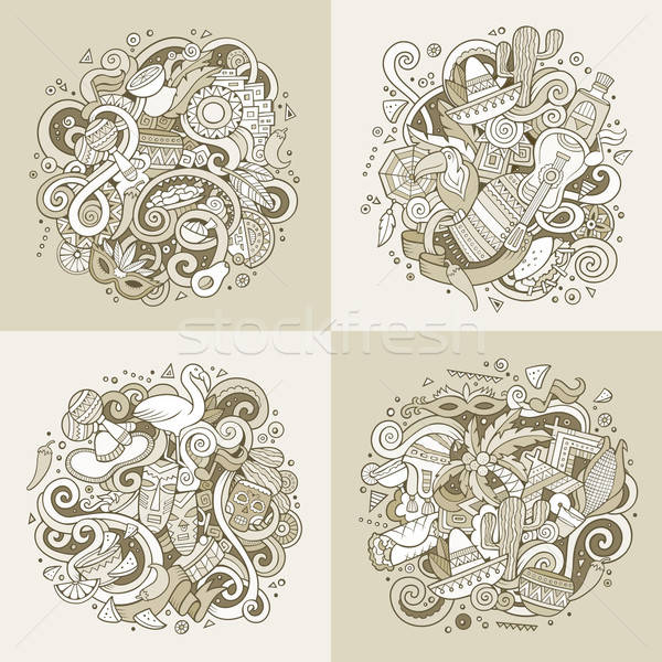 Latin America vector hand drawn Doodle illustration Stock photo © balabolka