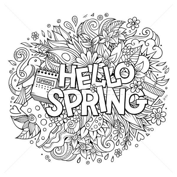 Desenho animado bonitinho olá primavera Foto stock © balabolka