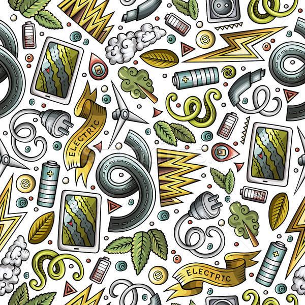 Rajz aranyos kézzel rajzolt elektromos autók végtelen minta Stock fotó © balabolka