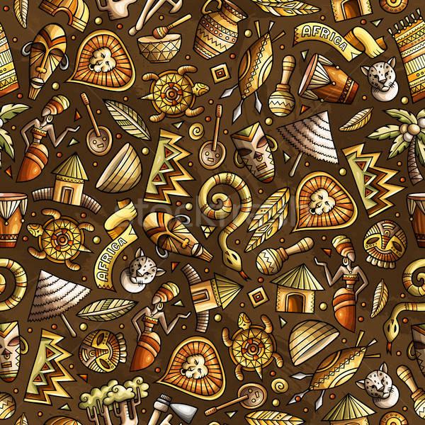 Cartoon cute afrikaanse kleurrijk Stockfoto © balabolka