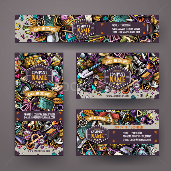 Corporate Identity vector templates set design with doodles School theme Stock photo © balabolka