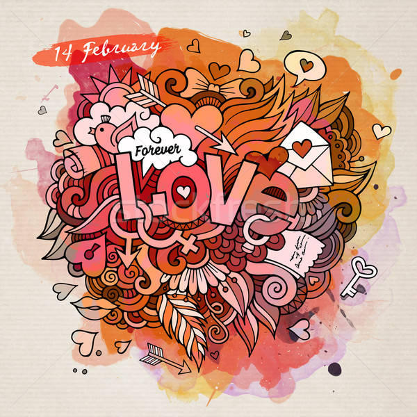 Love hand lettering and doodles elements Stock photo © balabolka