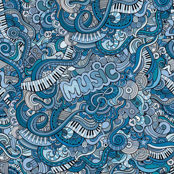Abstract decorative doodles music seamless pattern Stock photo © balabolka