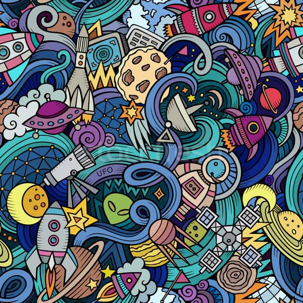 Desenho animado espaço estilo vetor Foto stock © balabolka
