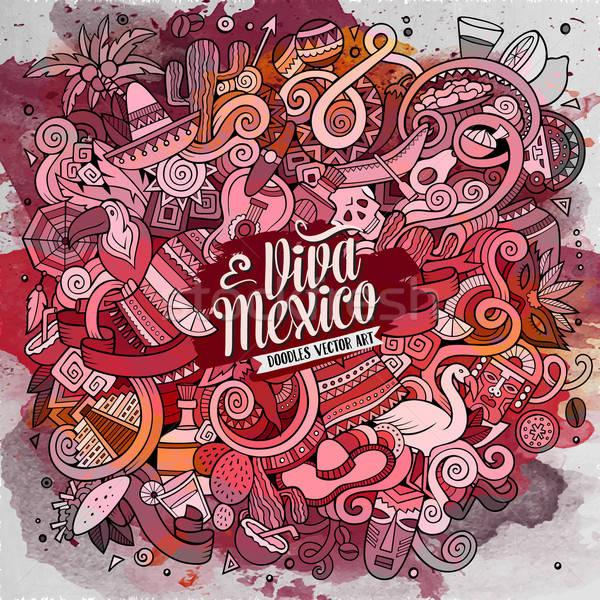 Cartoon hand-drawn doodles Latin American illustration Stock photo © balabolka